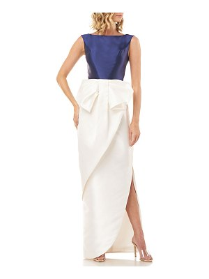 Kay Unger Hailey Colorblock Sleeveless Dress with Side Slit & 3D Bow