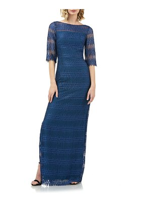 Kay Unger illusion neck lace evening gown