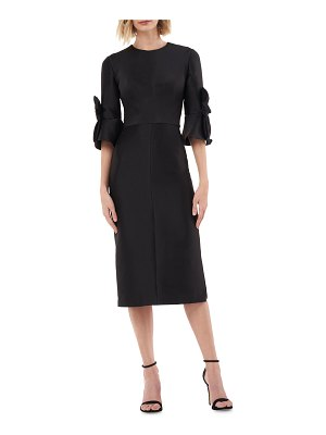 Kay Unger Jewel-Neck Mikado Sheath Dress with 3D Bows