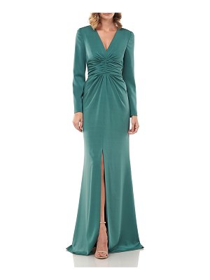 Kay Unger Kayla V-Neck Ruched Stretch Faille Gown