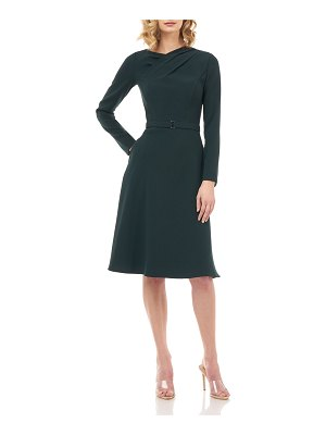 Kay Unger Lennox Belted Stretch Crepe Dress w/ Fold-over Pleats