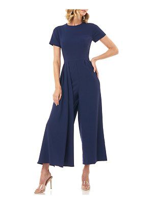 Kay Unger Lucie Short-Sleeve Cropped Wide-Leg Jumpsuit
