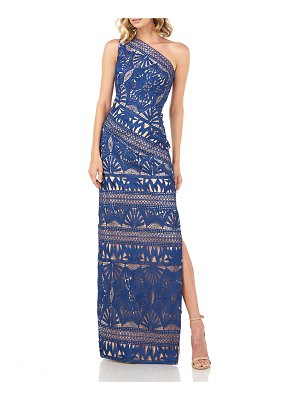 Kay Unger Marissa One-Shoulder Chemical Lace Column Gown