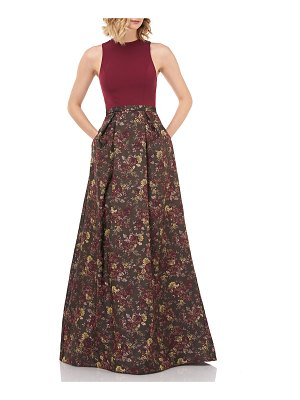 Kay Unger Mikela Floral Jacquard Halter Gown w/ Crepe Bodice & Pockets