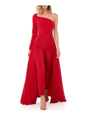 Kay Unger Rebecca One-Sleeve Jumpsuit w/ Skirt Overlay