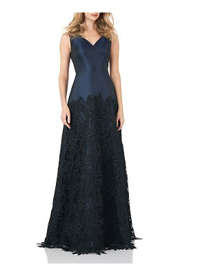 Kay Unger Sleeveless Guipure Lace Mikado Gown