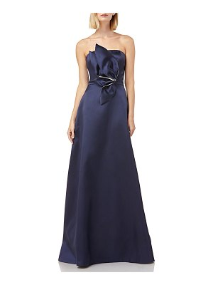 Kay Unger Strapless Mikado Ball Gown w/ 3D Flower Detail & Pockets