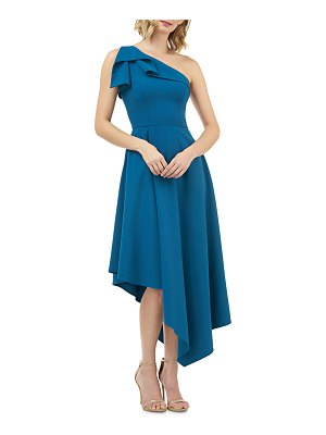 Kay Unger Stretch Crepe One-Shoulder Asymmetric Fit-and-Flare Dress