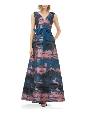 Kay Unger Valentin Abstract Jacquard V-Neck Sleeveless Gown w/ 3D Bow