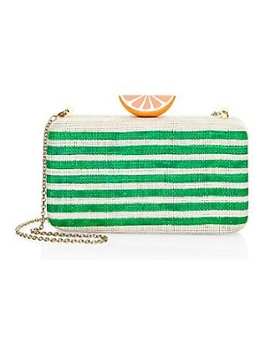 Kayu beatriz striped raffia clutch