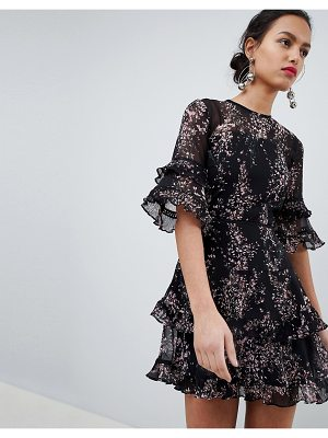 Keepsake floral frill mini dress