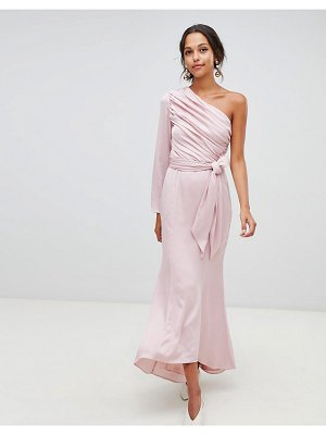 Keepsake hold back long sleeve one shoulder maxi dress