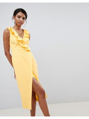 Keepsake midi wrap dress with ruffle detail