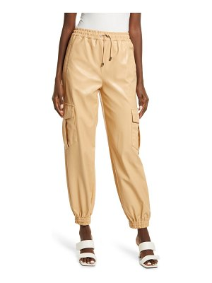KENDALL + KYLIE cargo faux leather joggers