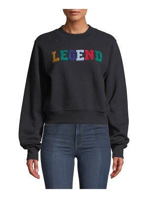 KENDALL + KYLIE Cropped Embroidered Crewneck Sweater