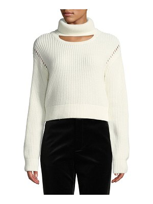 KENDALL + KYLIE Cutout Turtleneck Cropped Sweater