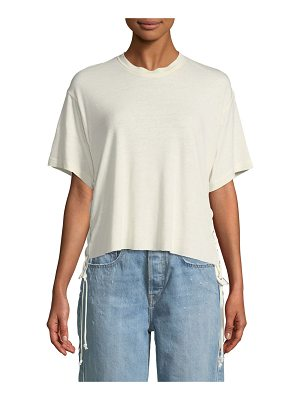 KENDALL + KYLIE Lace-Up Boxy Crewneck Tee