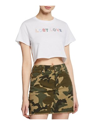 KENDALL + KYLIE Muse Short-Sleeve Embroidered Crop Tee