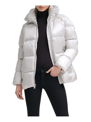 Kenneth Cole box quilted puffer jacket with removable hood