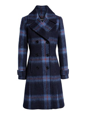 Kenneth Cole brushed plaid a-line coat