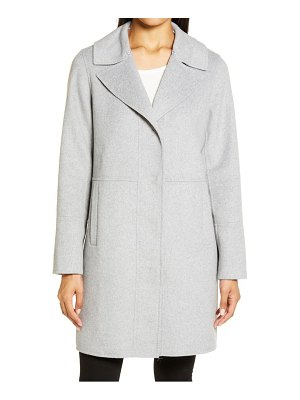 Kenneth Cole double face wool blend coat with removable faux fur collar