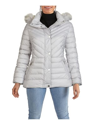 Kenneth Cole faux fur hooded puffer jacket