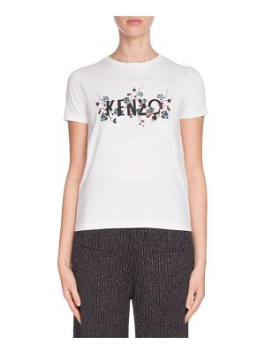 Kenzo Fitted Floral Logo Graphic Tee
