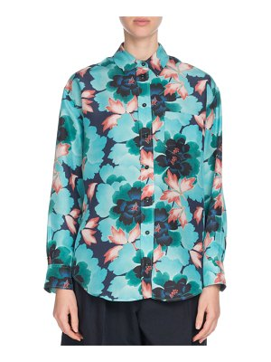 Kenzo Floral Silk Button-Front Pocket Shirt