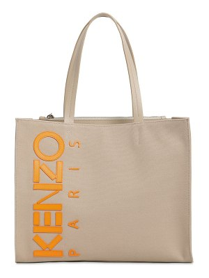 Kenzo Leather logo patched cotton canvas tote