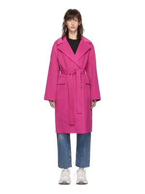 Kenzo pink belted cocoon coat