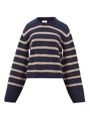 KHAITE annalise striped jacquard cashmere sweater