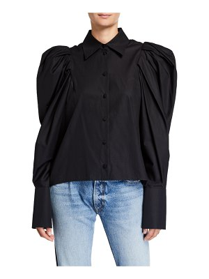 KHAITE Brianne Puff-Sleeve Button-Front Shirt
