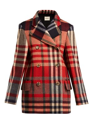 KHAITE clara double breasted checked wool blend coat