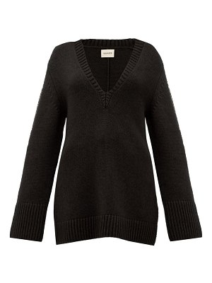 KHAITE dana braided applique cashmere sweater