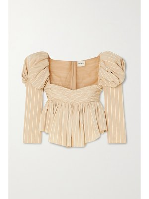 KHAITE kim ruched striped jacquard and tulle top