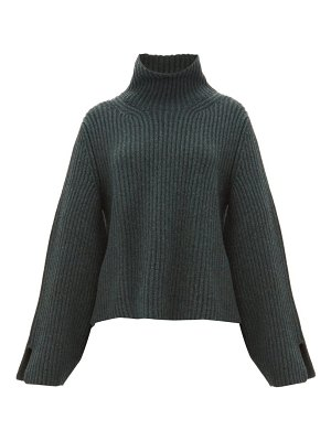 KHAITE molly bowed sleeve cashmere roll neck sweater