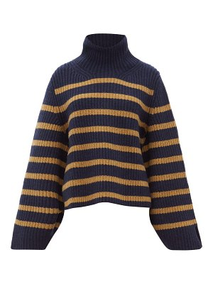 KHAITE molly roll neck striped cashmere sweater
