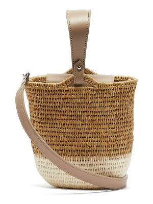 KHOKHO zandi leather trimmed woven bucket bag