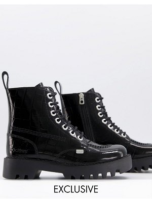 Kickers exclusive kizziie ankle boots in black patent croc
