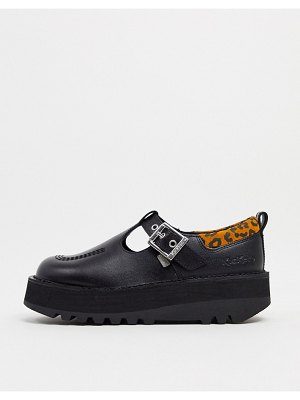 Kickers kick stack t-bar shoes in black with leopard trim-multi