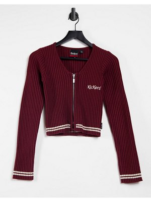 Kickers long sleeve shrunken knitted top with embroidered logo