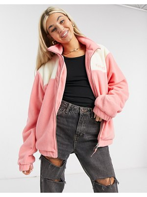 Kickers oversized jacket with chest logo in color block fleece-pink