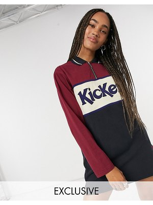 Kickers relaxed polo shirt dress with front logo in color block-navy