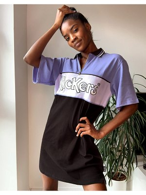 Kickers relaxed polo shirt dress with front logo in color block-purple