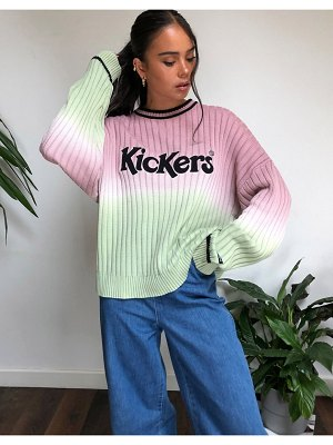 Kickers relaxed sweater with front logo in ombre knit-pink