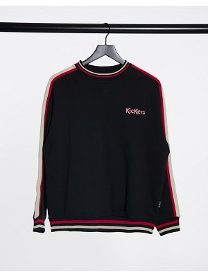 Kickers relaxed sweatshirt with embroidered logo and retro stripe-black