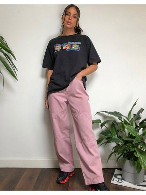 Kickers relaxed utility pants with embroidered pocket logo-pink