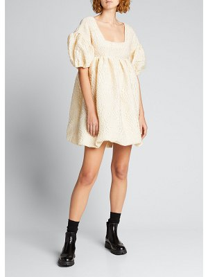 Kika Vargas Puff-Sleeve Jacquard Square-Neck Mini Dress