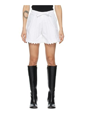 Kika Vargas white elsie scalloped shorts