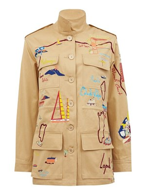 KILOMETRE PARIS mediterranean tour map-embroidered cotton jacket